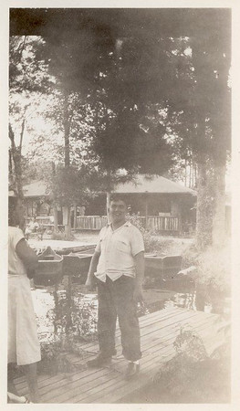Jim Lacey at Camp Robinsoe Crusoe boat dock - Circa 1944
