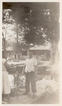 Jim Lacey at Camp Robinsoe Crusoe boat dock - Circa 1944