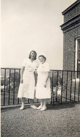 Joan [Tallman] Lacey, left, as volunteer at Harrington Memorial Hospital, Southbridge MA.