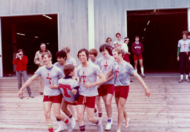 Throwing in Steve after the  MIT, Rutgers, Coastguard race. Frosh Lights Spring 1981.