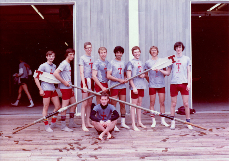 Another win for MIT Frosh Lights after the MIT, Rutgers, Coastguard race. Steve Carrol is soaked from being thrown in.  Lto R.  Phil Michael, Tony Masterson, Andy Kellen, Craig Trautman, Ahsan Iqbal, Dan Money, Steve Smith, Andy Osler and Steve Carrol in wet clothes. Spring 1981.
