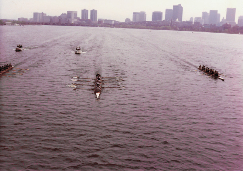 The Harvard, MIT, Dartmouth race.  We are in the middle leading by about a length coming into Harvard Bridge.  We were so stoked going into the race.  There was only one goal...beat Harvard.