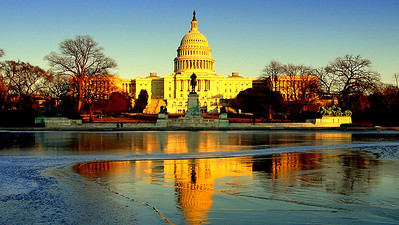 One of the most recognizable images of Washington, the United States Capitol sits atop Capitol Hill at the eastern end of the National Mall and rises to a height of 289ft (88m).