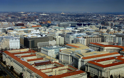 View of downtown Washington DC taken from atop the Washington Monument.  View this photo at XLarge - X3Large!