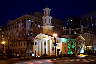 "St. John's Episcopal Church, Lafayette Square, is a historic Episcopal church located at 16th and H Streets NW, in Washington, D.C. It is near Lafayette Square and the White House.  Beginning with James Madison, every president has at least been an occasional attendee, giving this church its nickname, ""Church of the Presidents."""
