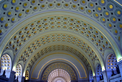 Main hall of Union Station, which is the grand ceremonial train station designed to be the entrance to Washington, D.C., when it opened in 1908.