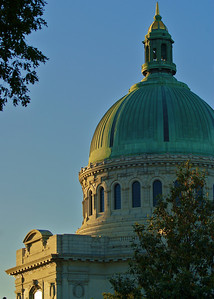The United States Naval Academy Chapel in Annapolis, Maryland, is one of two houses of worship on the grounds of the Navy's service academy. Protestant and Catholic services are held there. The Naval Academy Chapel is a focal point of the Academy and the city of Annapolis. The chapel is an important feature which led to the Academy being designated a National Historic Landmark in 1961.
