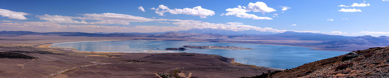 Mono Lake is one of the wonders of the eastern Sierra, in fact of all the West. It's a great bird spot, and the stark landscape beckons the landscape photographer. This is a 4-photo panorama run through the Panorama Factory software. To get a larger version of this photo, just click on it.