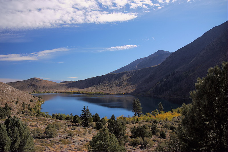 And here's Convict Lake as seen from the mouth of Convict Canyon. Though serene-looking nowadays, Convict Lake got its name from an incident in 1871, when six inmates from a Nevada prison escaped here, and eventually battled their way out with a shootout.