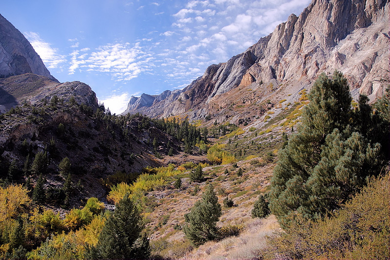 This is the entrance to Convict Canyon. It leads to the headwaters of Convict Creek and a series of heavenly lakes -- Mildred, Dorothy, and Genevieve being among them. They were named by Major William Forsyth, acting superintendent of Yosemite Nat'l Park from 1909 to 1912, when the US Calvary was still in charge of policing the area.