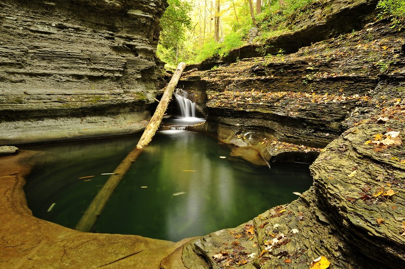 A deep pool in the stream...carved over eons by rushing water.