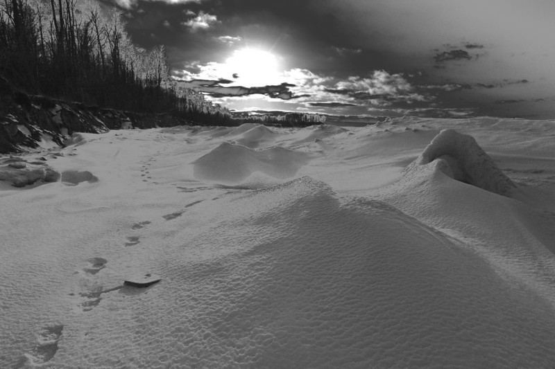 Chimney Bluffs 022110 35 bw -just playing DSC_1743
