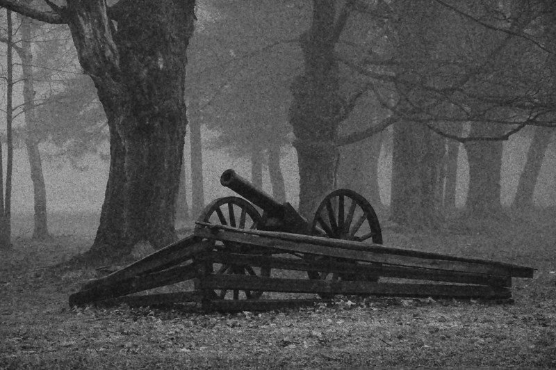 Civil War cannon #4 black and white, Letchworth State Park NY.
