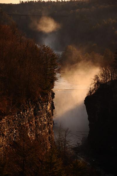 Godsrays in mist #4, Letchworth State Park NY.