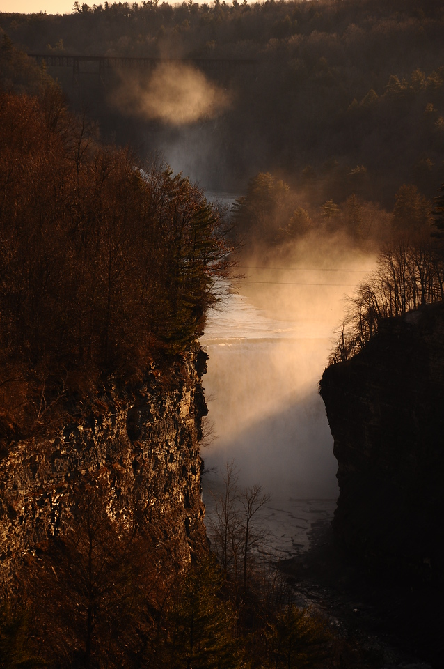Godsrays in mist #4, Letchworth State Park NY.