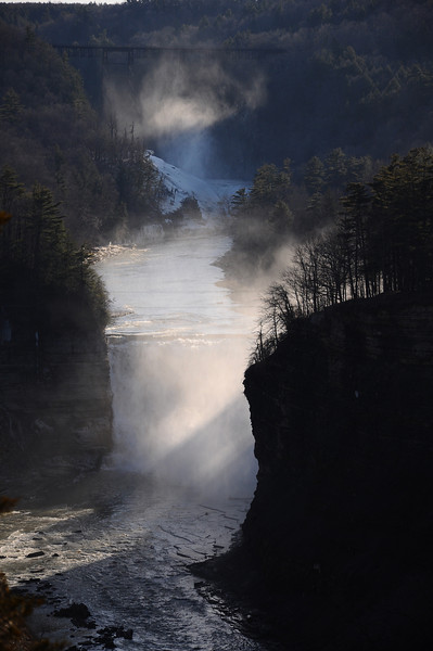 Godsrays in mist #1, Letchworth State Park NY.