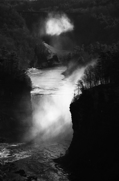 Godsrays in mist # 2 black and white, Letchworth State Park NY.
