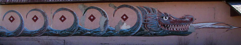 "Mural #7 - The Great Water Serpent of the Rio Grande<br /> <br /> Antonito Colorado, by Fred Haberlein<br /> <br /> The Murals of Conejos County Driving Tour ... ""through some of the most beautiful pastoral landscapes in the Rocky Mountains. The murals engage in the ages old local tradition of story-telling depicting tales of settlement, folklore, faith, scenic beauty and everyday rural life""."