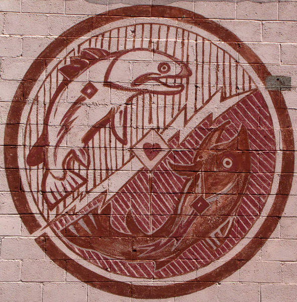 """Mural #5 - Mimbres Trout<br /> <br /> Antonito Colorado, by Fred Haberlein<br /> <br /> The Murals of Conejos County Driving Tour ... """"through some of the most beautiful pastoral landscapes in the Rocky Mountains. The murals engage in the ages old local tradition of story-telling depicting tales of settlement, folklore, faith, scenic beauty and everyday rural life""""."""