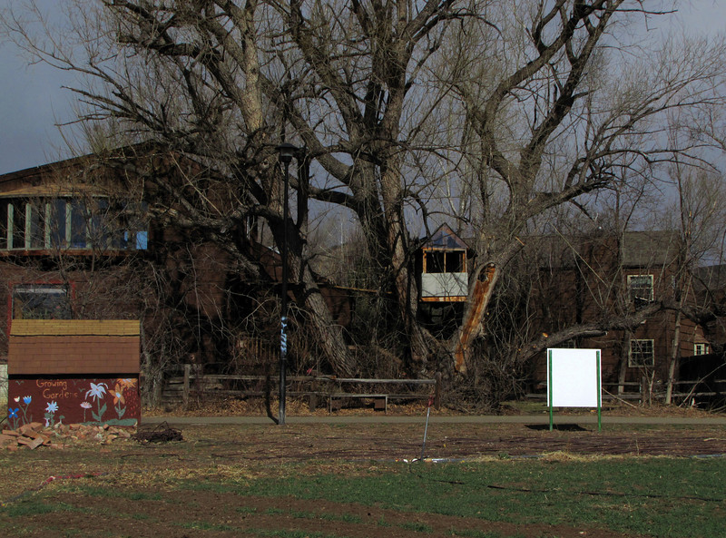 Sweet treehouse overlooking a great community garden. Boulder Colorado.