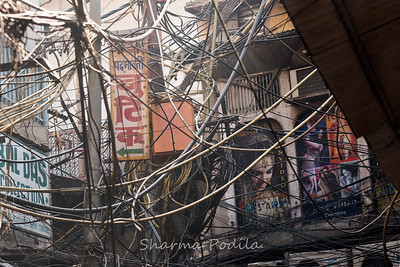 A mesh of wires, Chandni Chowk, New Delhi, India.
