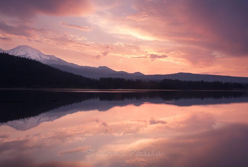 Dawn light on Mt. Shasta at Lake Siskiyou, California