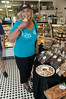 Customer enjoying a sample in Gramma's Bakery