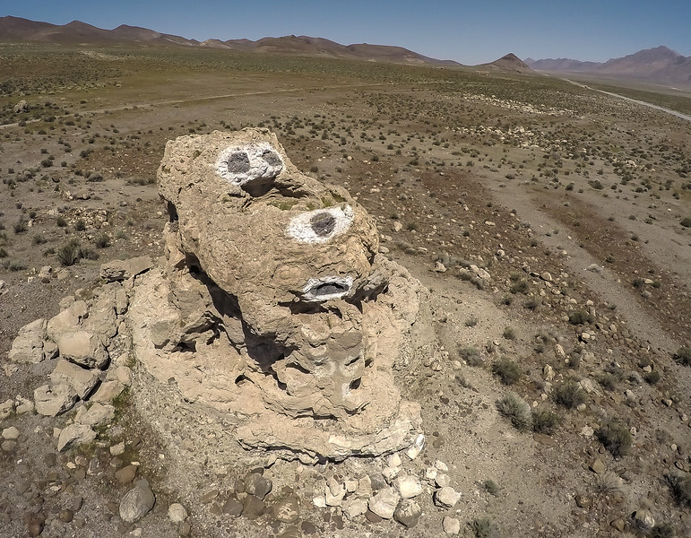 110 Snoopy face painted on a limestone tufa tower, Winnemucca Lake