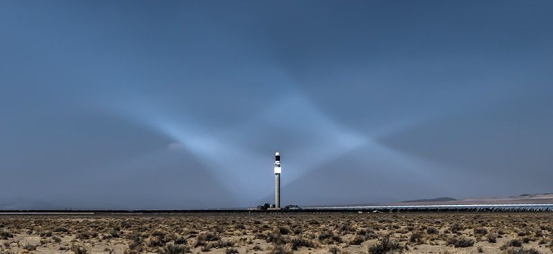 080 Solar flux visible at the Crescent Dunes Solar Energy Plant by Tonopah.