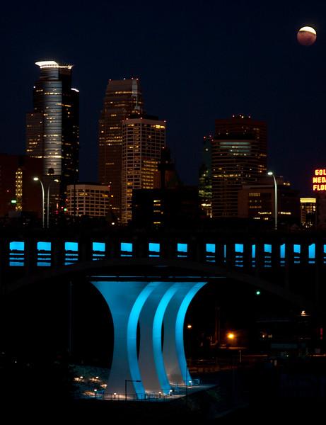 Blood Moon setting on Minneapolis