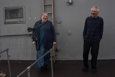 Fred and Polly share a laugh on the deck of thier home. Shoreham-By-Sea, Sussex, UK. April 2016.
