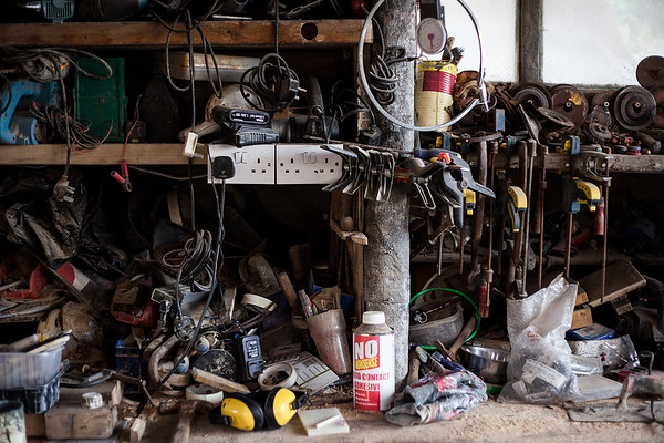 Details of Hamish McKenzie's work bench. Shoreham-By-Sea, Sussex, UK. April 2016.