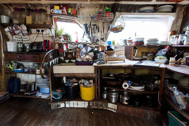 The kitchen on 'Verda'. Shoreham-By-Sea, Sussex, UK. April 2016.