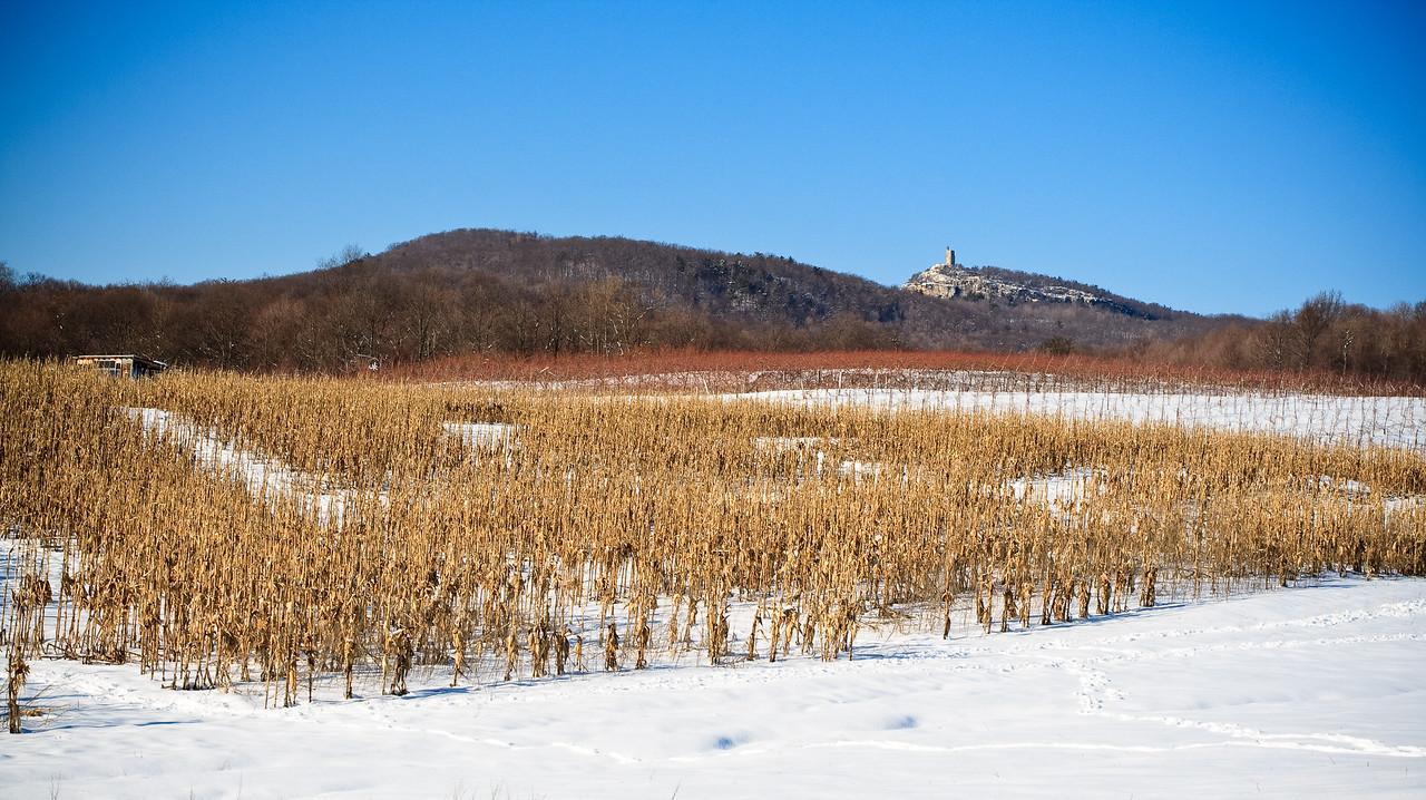 Sky Top, the Shawangunk Ridge and corn fields in winter