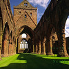 The ruined arches of Sweetheart Abbey at New Abbey near Dumfries