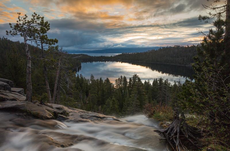 Stormy Cascade Falls Sunrise