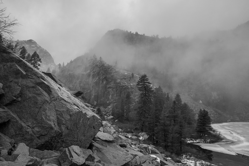 Rain and Low Clouds Passing through Walls of Granite