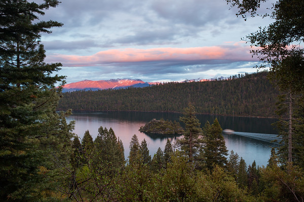 Last Light on South Shore Peaks from Emerald Bay