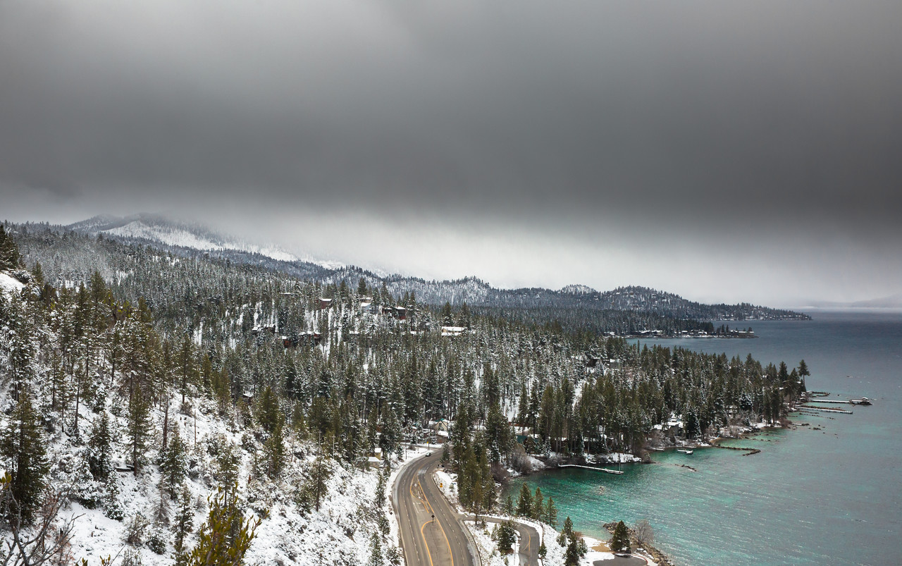 Southbound View of the Approaching Storm from Atop Cave Rock