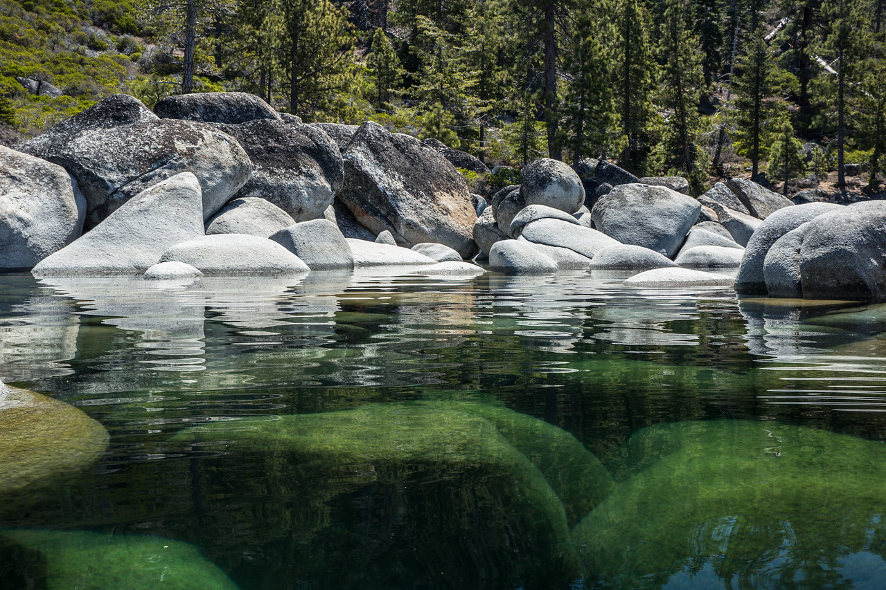 Reflections in Clear Green Water