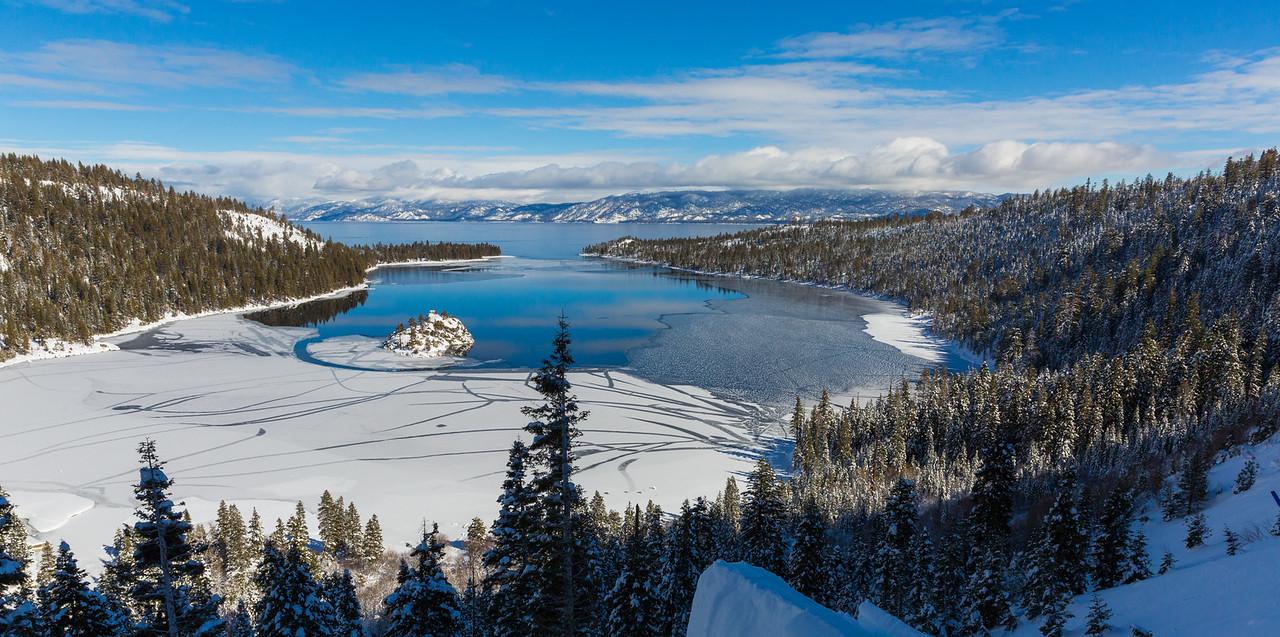 Blue Skies Above a Half Frozen Emerald Bay