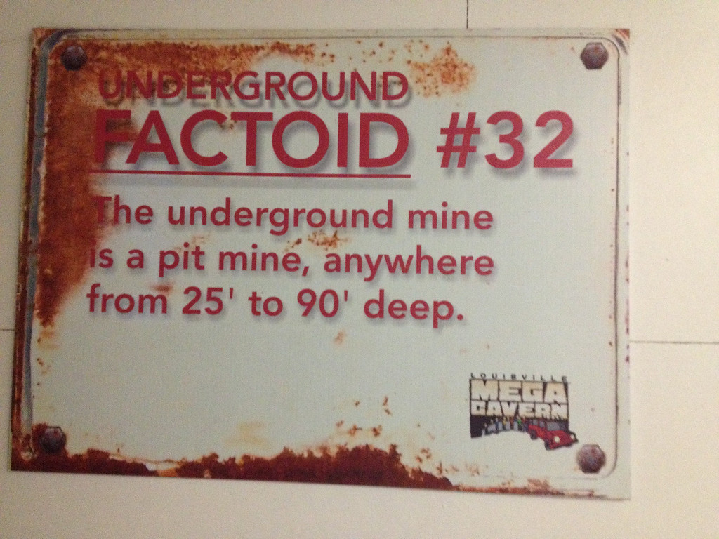 These signs, 'artistically' rusted, described the Mega Cavern used as a mine.