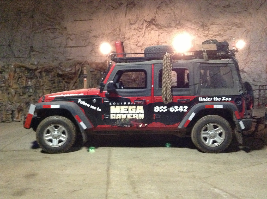 Mega Cavern Tour lead vehicle driven by tour guide