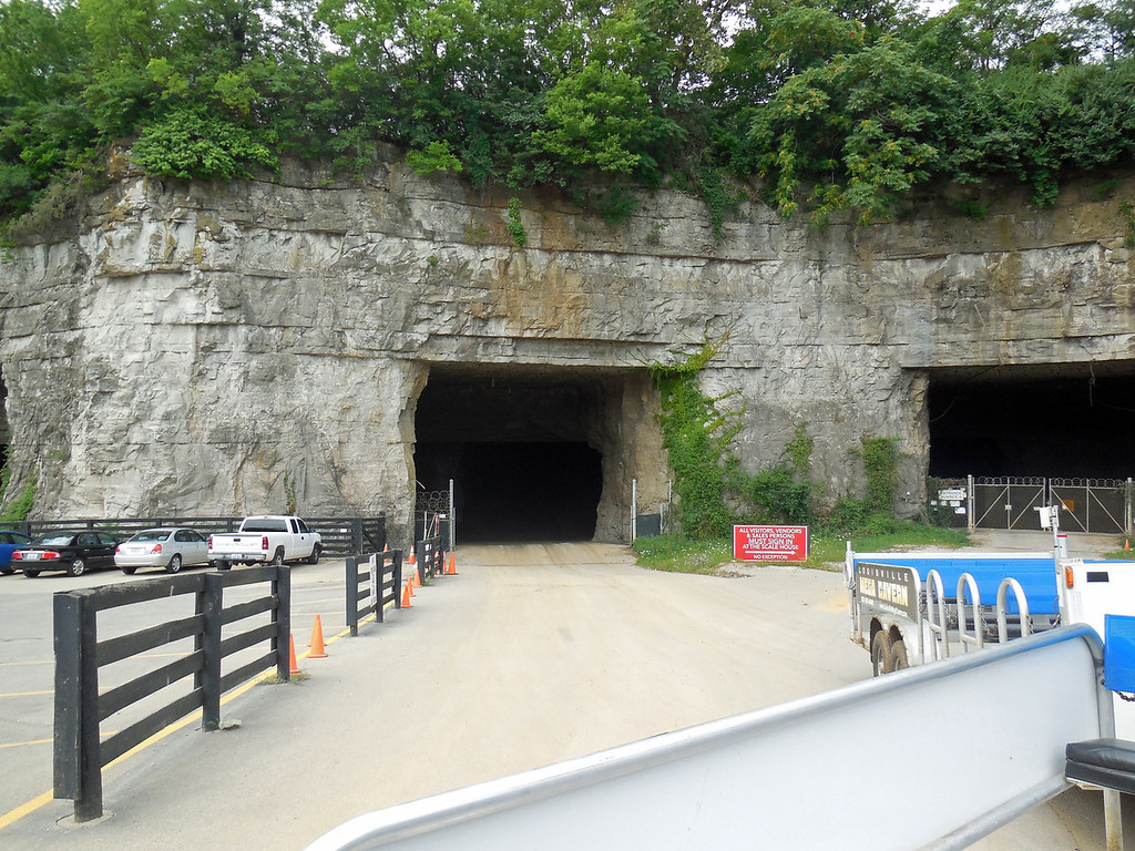 Entrance to Mega Cave under Louisville KY, a huge cave created by mining hard limestone. Now used for commercial purposes and tours.