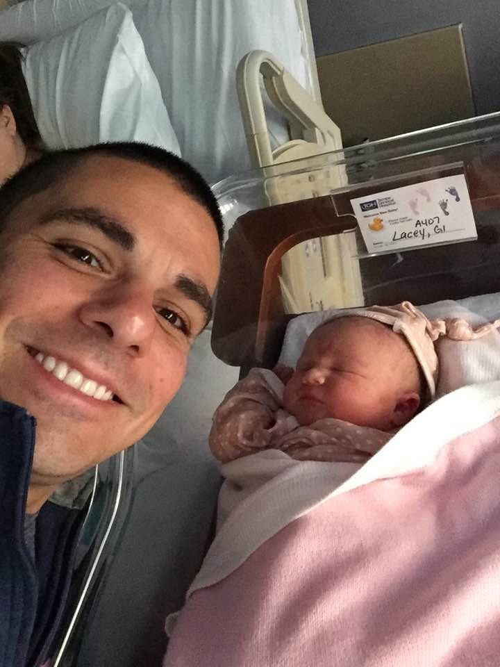 Elizabeth Montgomery Lacey, Born 11/17/2016 - With joyful father Rory