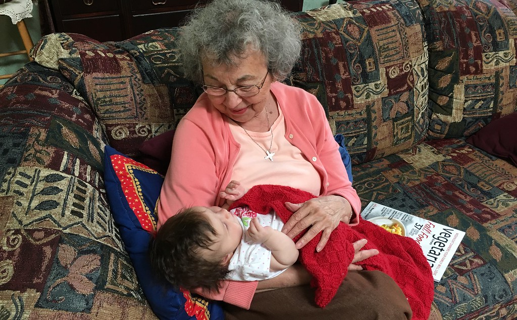Great-Grandmother Mary admiring her great-grandaughter Hilary