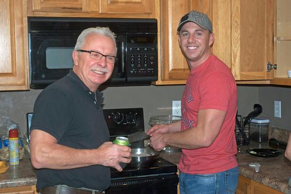 John Webber (L) and son Hans