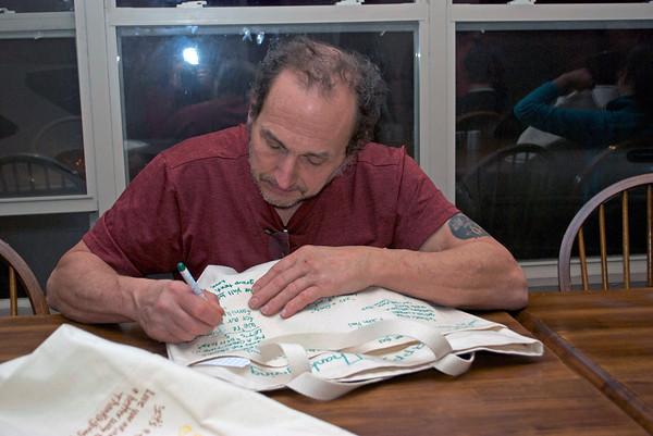 Jim IV fills in Tote Bag details