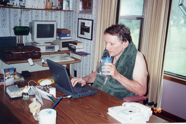 Jim Lacey catching up on JAMAR Associates work at son Frank's home (and Jim's 1990s summer office) in McKenzie TN.