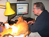 Jim and Presto doing computer work - see more about our cats in the My Personal Galleries / Feline Friends Gallery